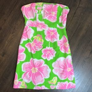 Lilly Pulitzer Strapless Hibiscus Dress